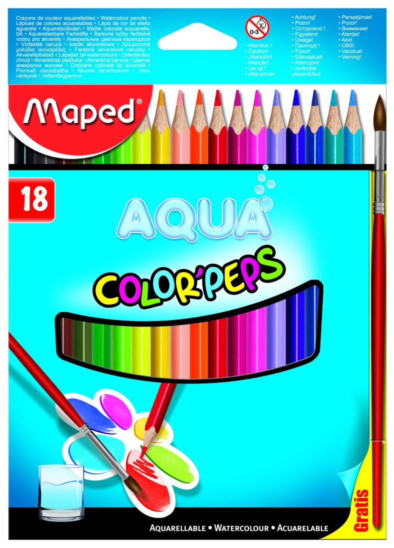 Купить Карандаши цветные Maped Color Peps Aqua акварельные 18 цветов + кисть, Цветные карандаши