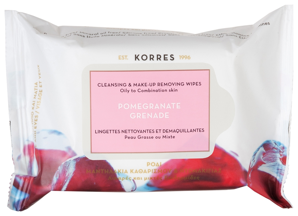 Купить Korres Pomegranate Cleansing & Make Up Removing Wipes For Oily And Combination Skin, Cleansing & Make-Up Removing Wipes