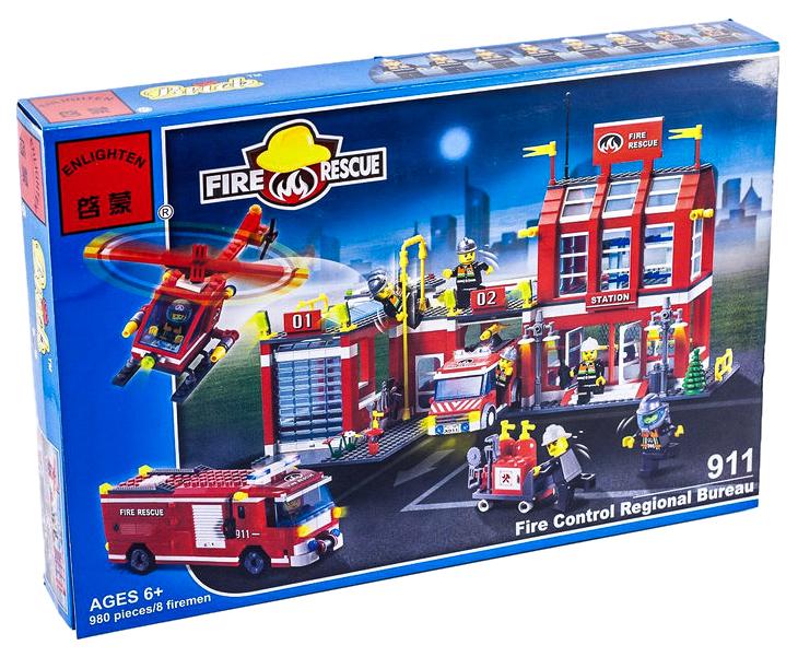 Купить Пожарная станция, Конструктор Brick Fire Rescue Пожарная станция 980 деталей, Конструкторы пластмассовые