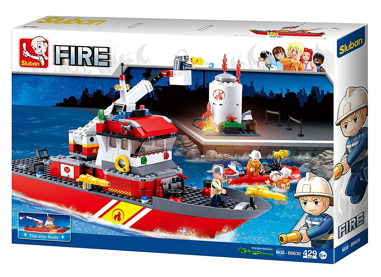 Купить Корабль пожарный с фигурками 429 дет, Конструктор пластиковый Sluban Корабль пожарный с фигурками 429 дет M38-B0630, Конструкторы пластмассовые