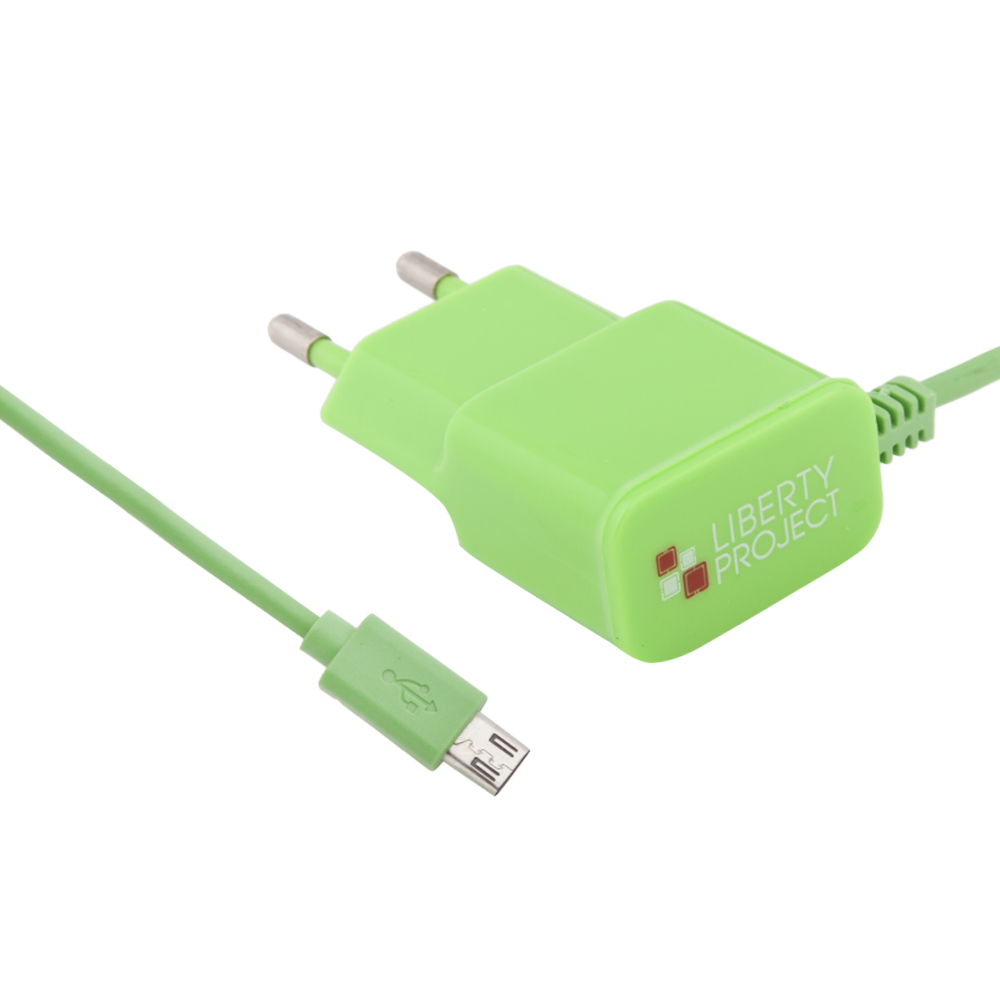 Сетевое зарядное устройство Liberty Project micro USB 2,1A Green фото