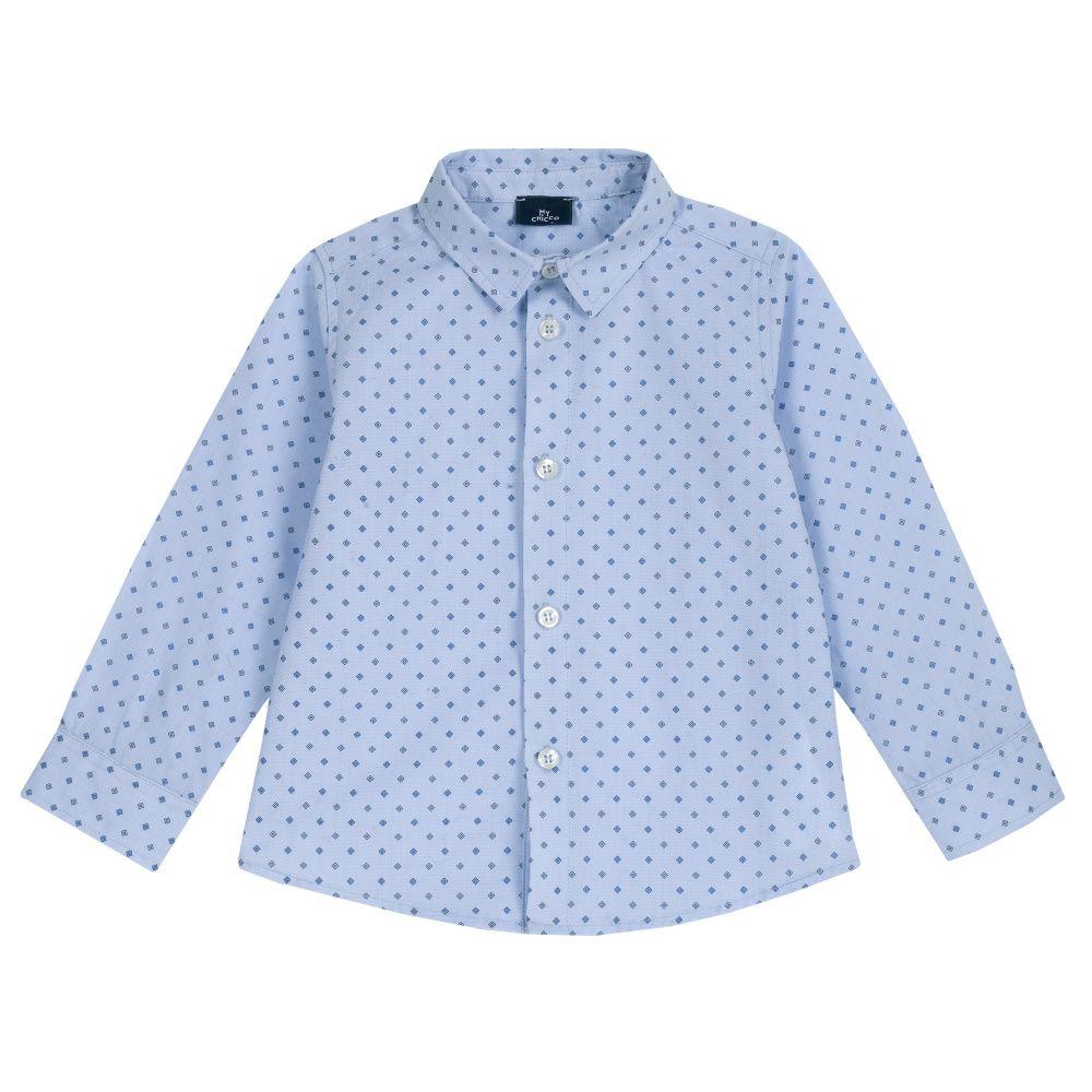 Рубашка Chicco р.116 расцветка голубая в ромбики