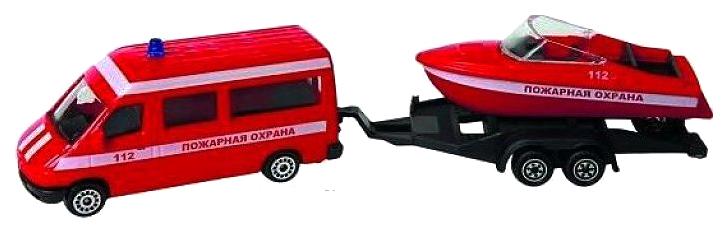 Купить Машина спецслужбы Пламенный мотор Пожарная охрана, микроавтобус, катер 870366, Наборы игрушечного транспорта