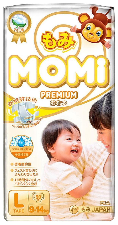Купить Подгузники Momi Premium, размер L (9-14 кг), 50 штук,