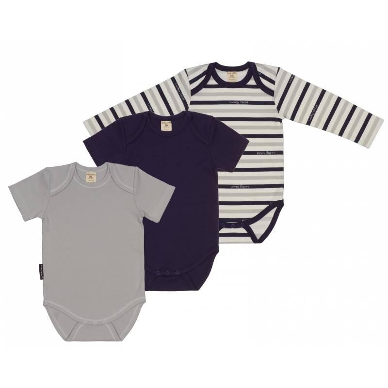 Купить Комплект боди 3 шт Lucky Child, цв. серый, 68 р-р, Боди и песочники для малышей