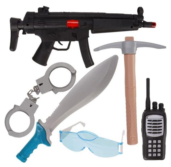 Игр.набор Военного, автомат трещ., рация, очки, наручники,