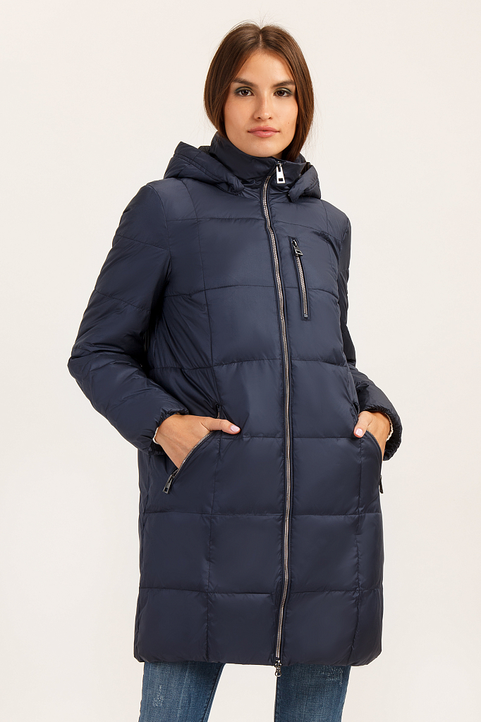 Пальто женское Finn Flare A19-32003 синее XL фото