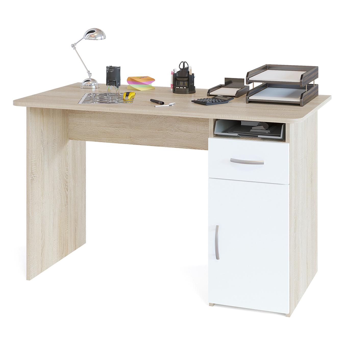 Письменный стол Сокол СПМ-03.1 дуб сонома/белый, 120х60х74 см.
