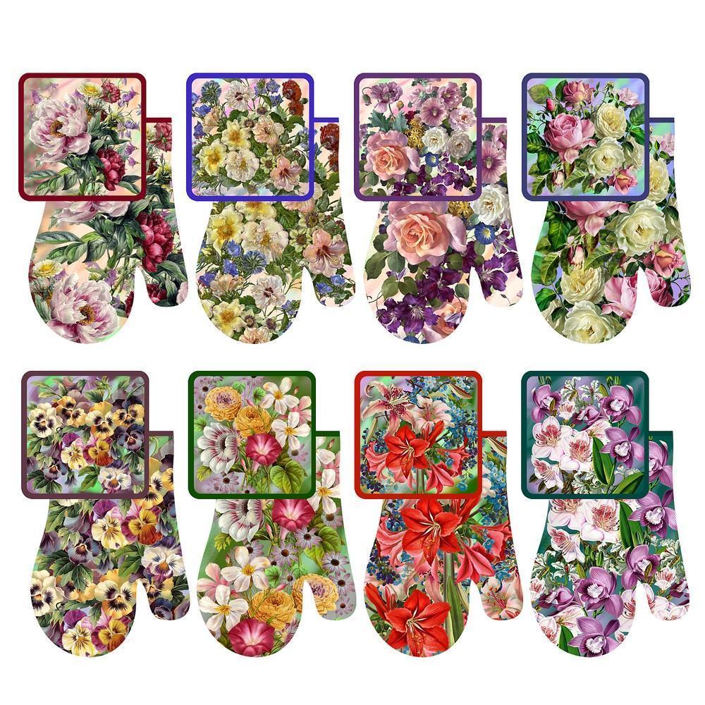Набор: прихватка с рукавицей «Купеческие цветы»