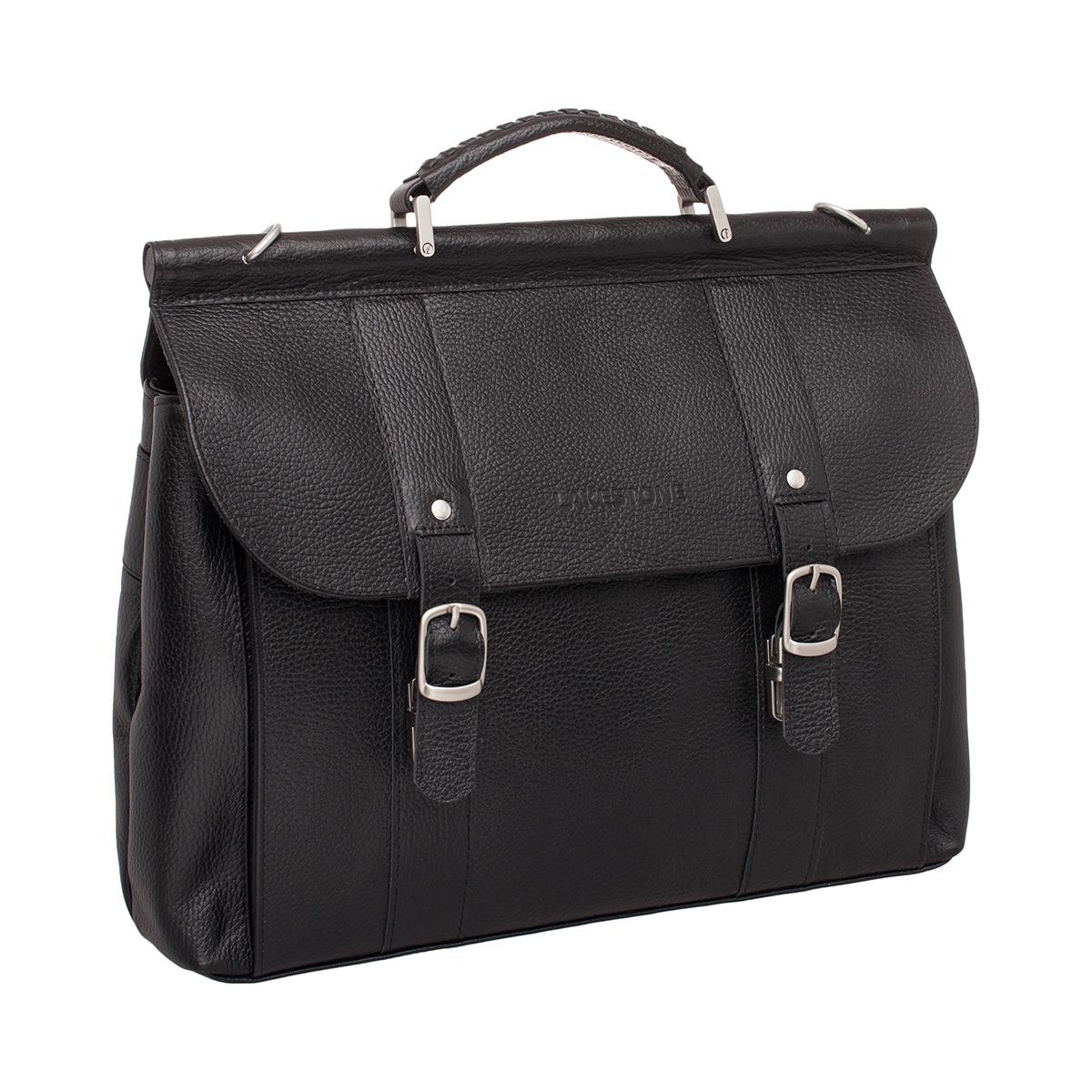 Портфель мужской кожаный Lakestone Garston черный фото