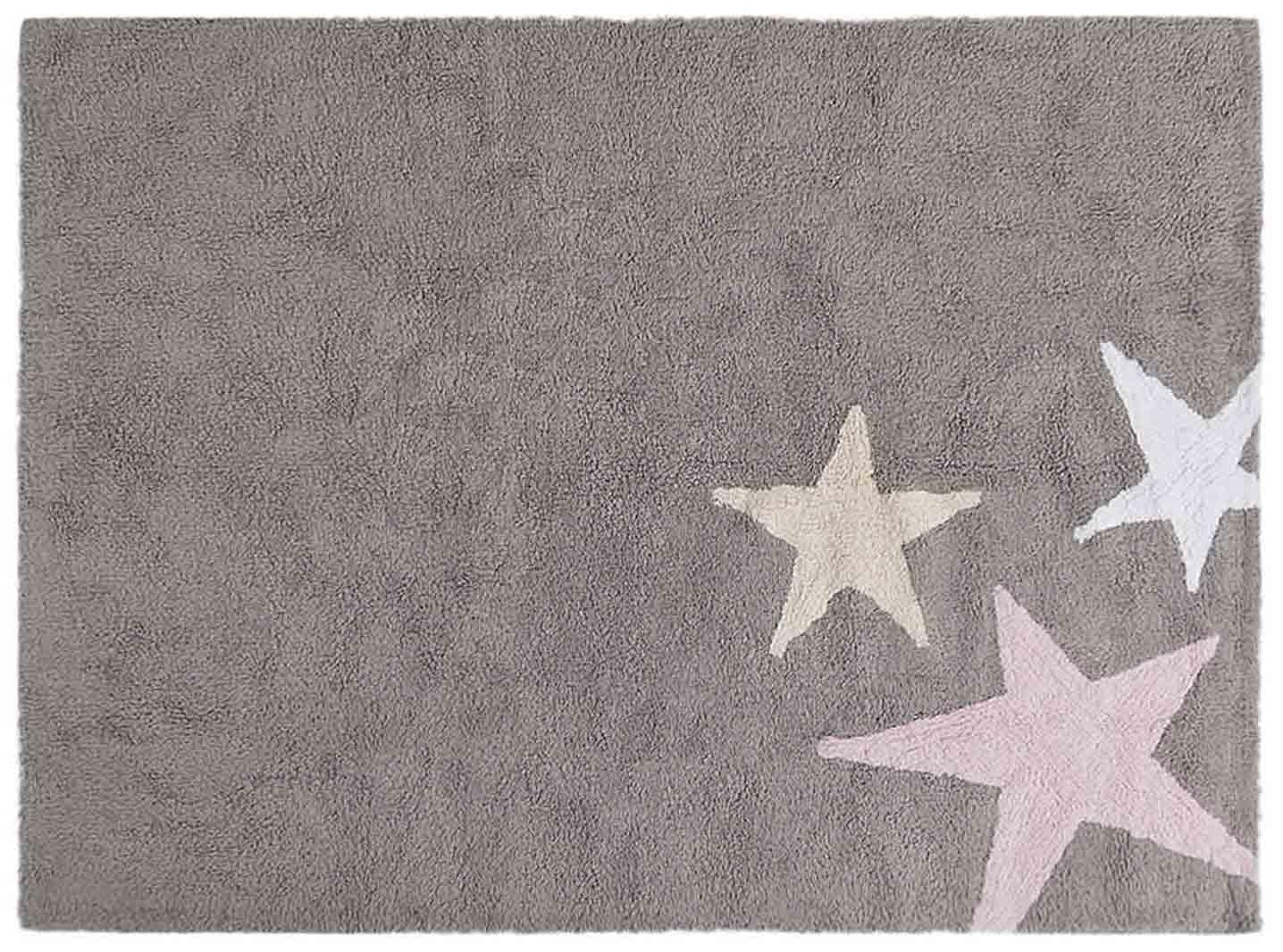 Ковер Lorena Canals Три звезды Three Stars серые и розовые 120*160