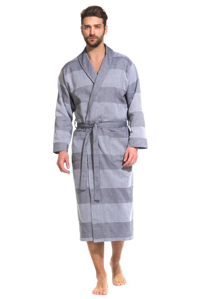 Легкий мужской халат из органического хлопка Pur Organique 417 (мужской) 417/серый/XXL