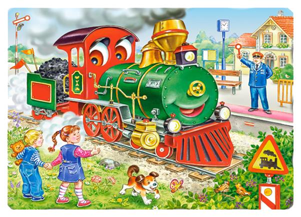Купить Пазл Castorland Зеленый локомотив (CastorLand) 30 элементов, арт. В-03433, Пазлы