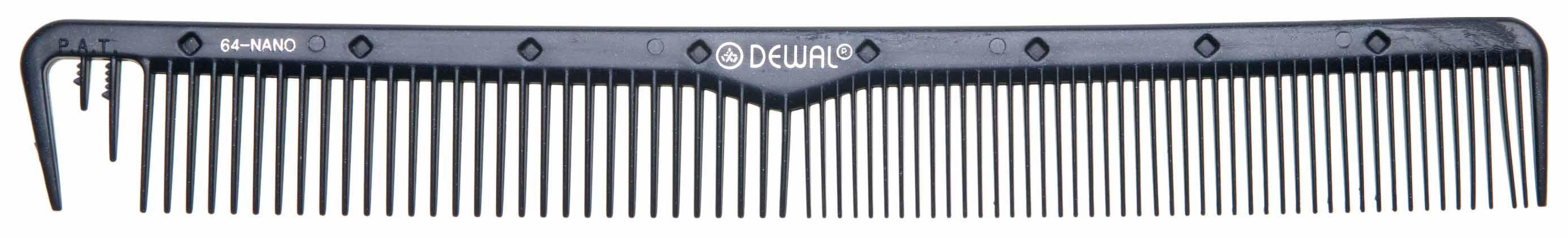 Купить Расческа Dewal Nano Комбинированная С раздельным зубцом Антистатик 22 см Черный