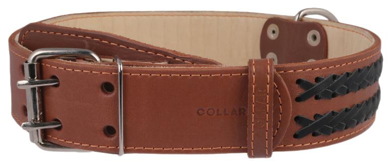 Ошейник для собак Collar, кожаный, двойной с вплетенной косой, коричневый, 56-68 см x 45мм