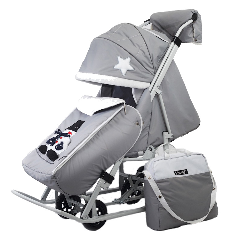 Купить Санки-коляска Pikate Toy Светло-Серый, Санки складные