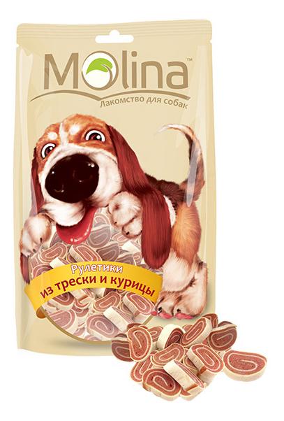 Лакомство для собак Molina Рулетики из трески и курицы, 80г
