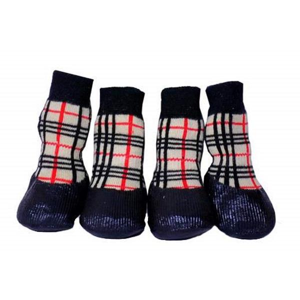 Носки для собак БАРБОСки размер M, 4 шт черный, красный, бежевый