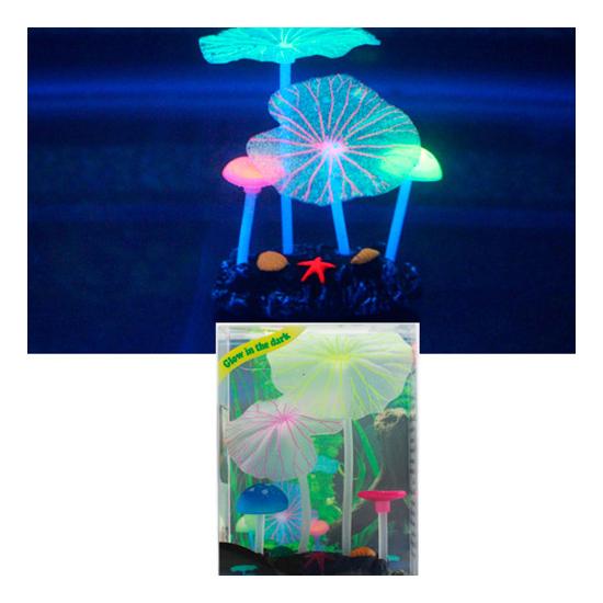 Декорация для аквариума Микс из растений силикон листья лотоса 2шт, грибы 2шт, 7х3,5х10см фото