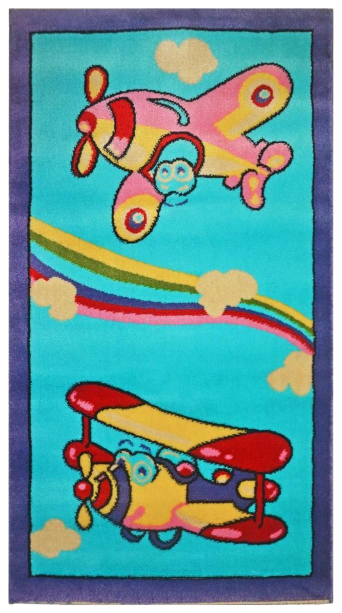 Ковер детский Kamalak tekstil голубой самолеты 100х150 УКД-2043