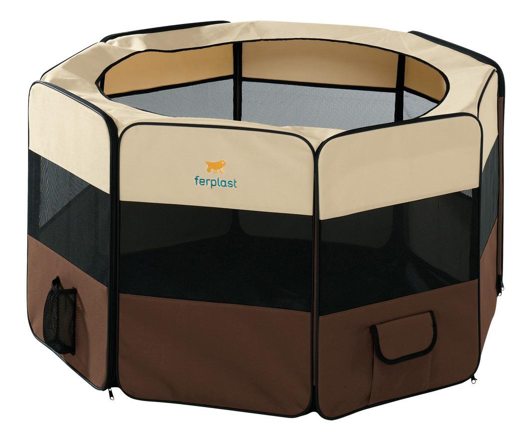 Вольер для собак Ferplast бежевый, черный, коричневый 118х118х61см