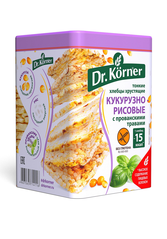 Хлебцы хрустящие Dr.Kоrner тонкие кукурузно-рисовые с прованскими травами 100 г
