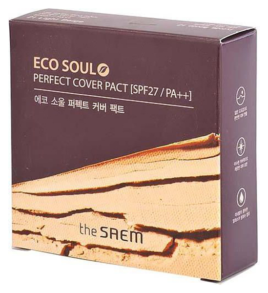 Купить Пудра компактная The Saem Eco Soul Perfect Cover Pact, 21 тон, Светло-бежевый, 11 г