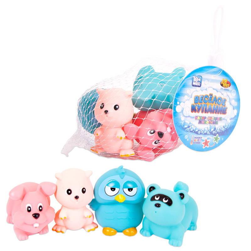 Купить Набор ABtoys резиновых животных для ванной Веселое купание, 4 предмета, Игрушки для купания малыша