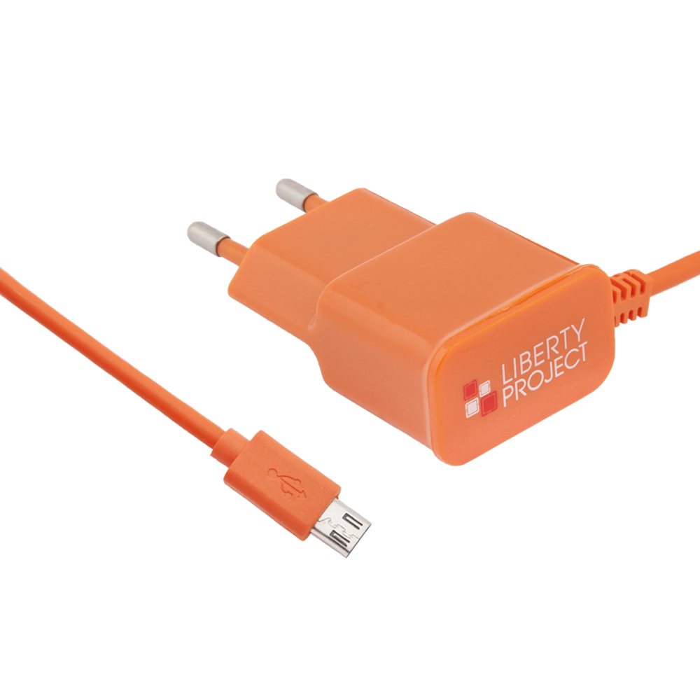 Сетевое зарядное устройство Liberty Project micro USB 2,1A Orange фото