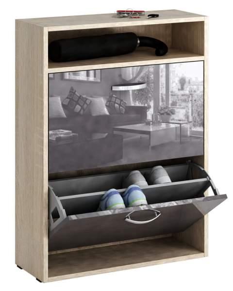 Обувница MFMaster Милан-25 МСТ-ОДМ-25 60х22,2х88,2 см, дуб сонома/серый глянец