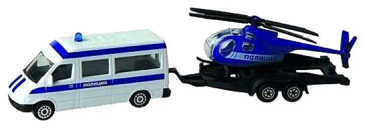 Купить Машина спецслужбы Пламенный мотор Полиция, микроавтобус, вертолет 870367, Наборы игрушечного транспорта