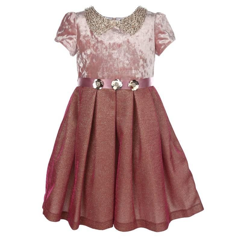 Купить Платье Омега-бархат UNONA D'ART, цв. розовый, 128 р-р, Детские платья и сарафаны