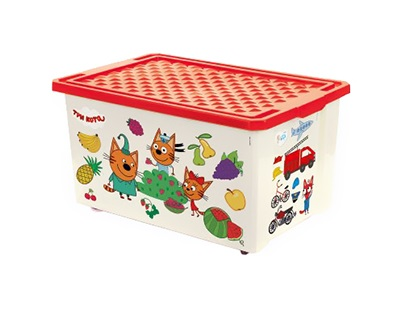 Ящик для хранения игрушек Little Angel Три кота Обучайка Считай LA1427-НК