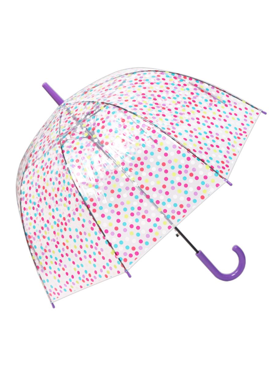 Зонт трость МихиМихи Горошек прозрачный купол, фиолетовый