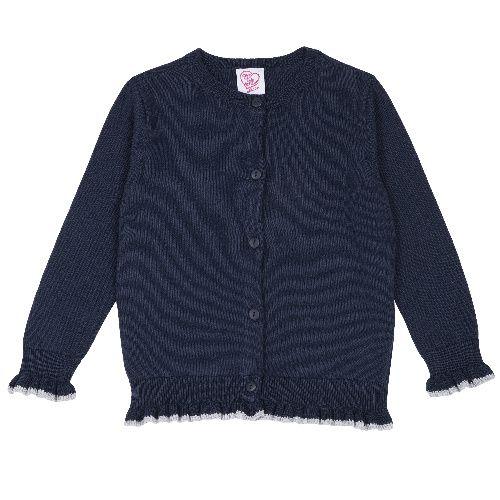 Купить 9096995, Кардиган Chicco для девочек р.128 цв.темно-синий, Кардиганы для девочек