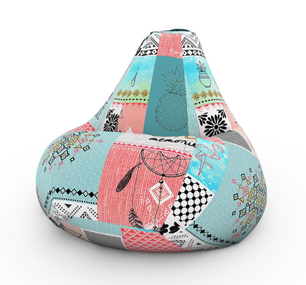 Кресло-мешок DreamBag Ловец Снов, размер XXXL, жаккард, голубой с рисунком фото