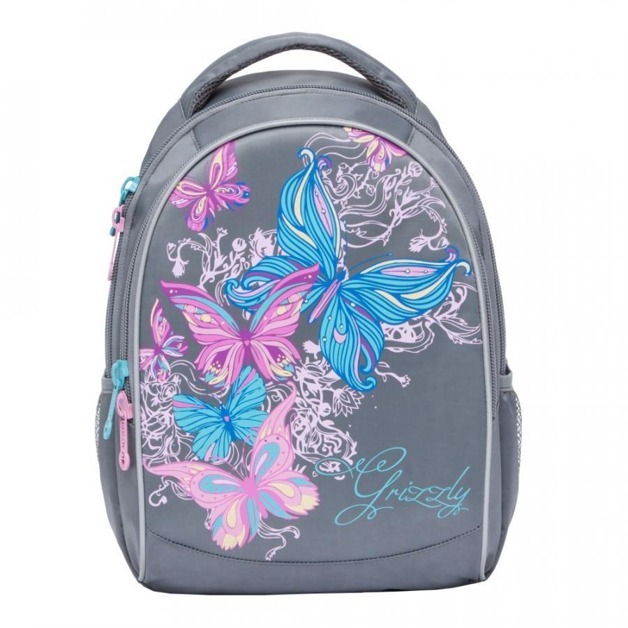 Купить Школьный рюкзак для девочки Grizzly RG-868-4 серый, Школьные рюкзаки и ранцы