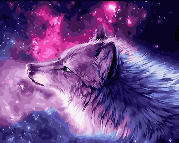 Картина по номерам Paintboy GX 30523 Небесный волк 40*50