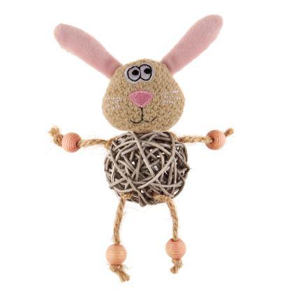 Мягкая игрушка для собак GiGwi Заяц с плетеным мячиком с колокольчиком, длина 15 см