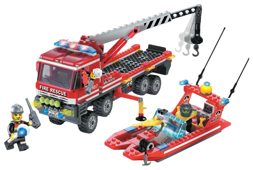 Купить Конструктор пластиковый Enlighten Перевозчик Пожарного Катера 907 420 деталей, Конструкторы пластмассовые