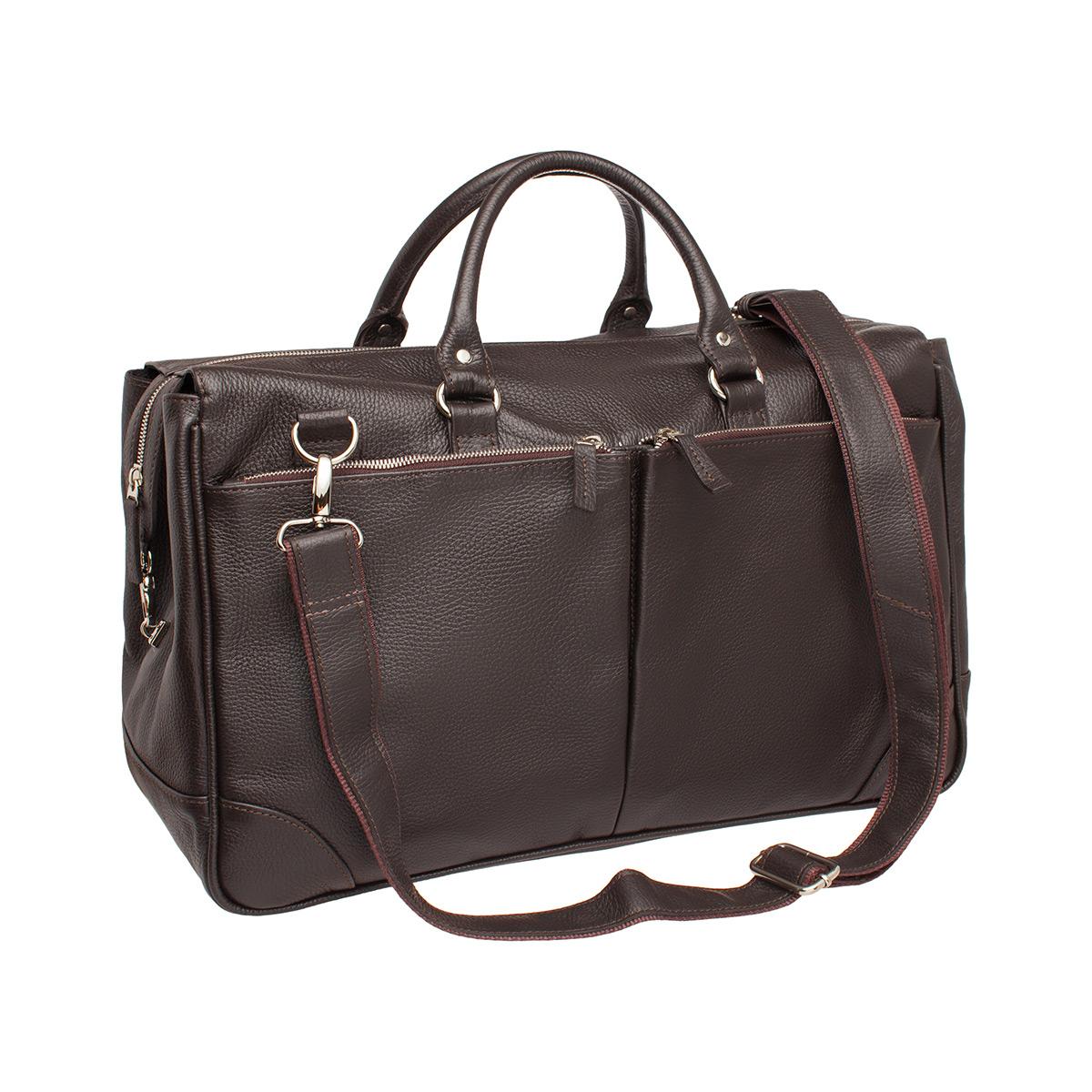 Дорожная сумка кожаная Lakestone 975218 коричневая 46 x 22 x 27 фото