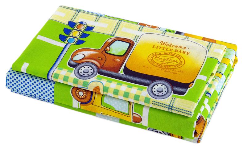 Комплект детского постельного белья Текс-Дизайн с трикотажной простыней Машинки бязь