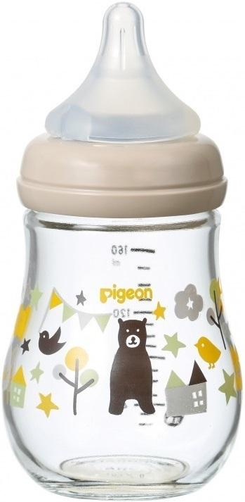 Купить Бутылочка для кормления Pigeon softouch peristaltic plus 0+ стеклянная мишка 160 мл, Бутылочки для кормления