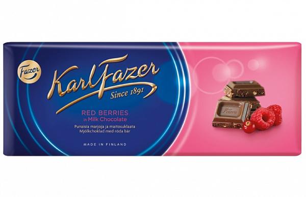 Шоколад Karl Fazer молочный с клюквой и малиной 200 г