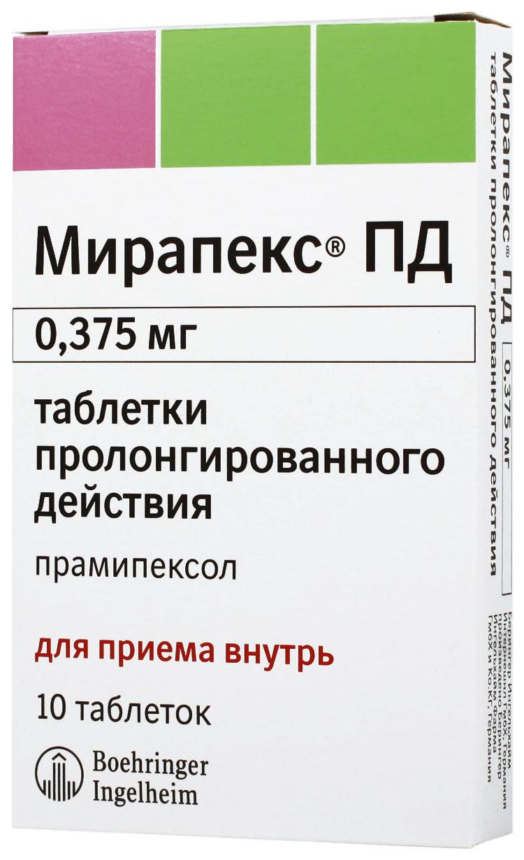 Мирапекс ПД таблетки 0,375 мг 10 шт.