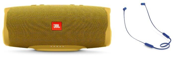 Беспроводная акустика JBL Charge 4 Yellow + Наушники JBL T110BT Blue фото