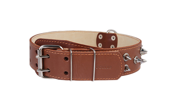 Ошейник для собак Collar, кожаный, двойной с шипами, коричневый, 56-68 см x 45 мм
