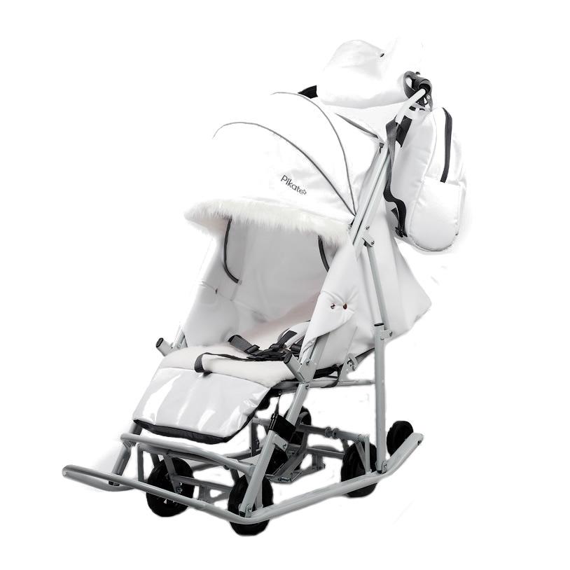 Купить Санки-коляска PIKATE АРКТИК Белый, Санки складные