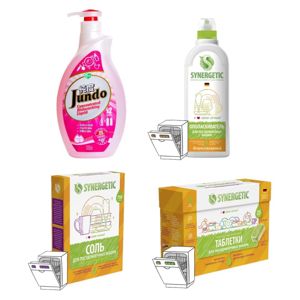 Набор Jundo+ Synergetic для посуды, 4 средства