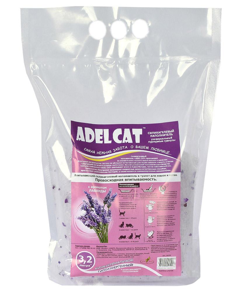 Впитывающий наполнитель для кошек Adel cat силикагелевый,